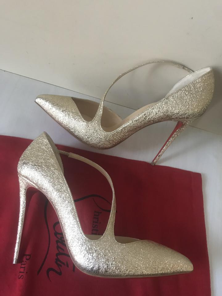 buy online 7427e 33888 Christian Louboutin Platine (Gold) Jumping 100 Metallic Leather Vintage  Strap Sandals Pumps Size EU 40.5 (Approx. US 10.5) Regular (M, B) 24% off  ...