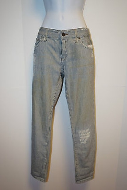 Free People Stripe Railroad Denim Distressed Women 25 Skinny Jeans