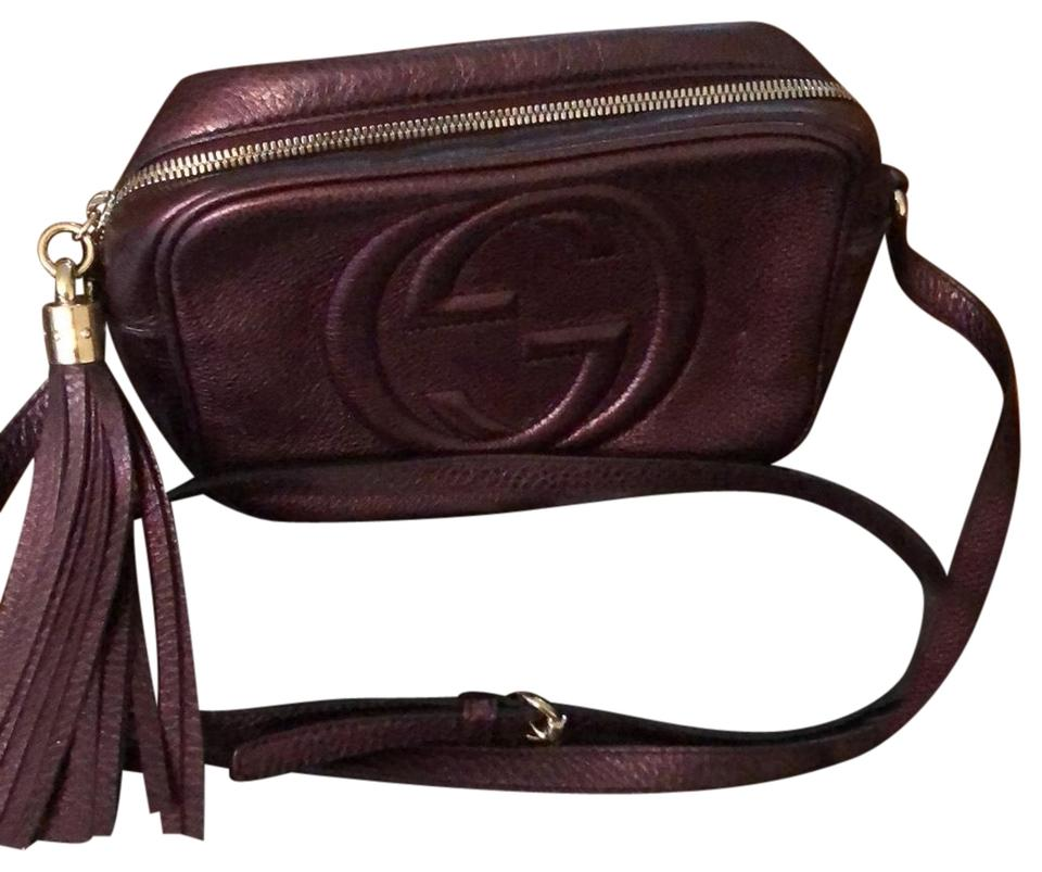 a7c078c531c1 Gucci Soho Small Disco Burgundy (Metallic Wine Color) Leather Cross Body Bag