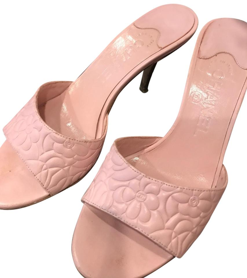 9a7a5e535d7 Chanel Pink Light and Creamy Camellia Mules Sandals Size EU 38 ...