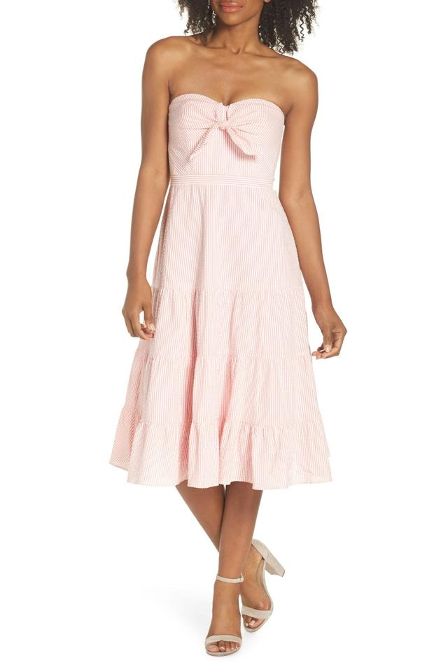 J.Crew Bright Coral Tie Front Strapless Mid-
