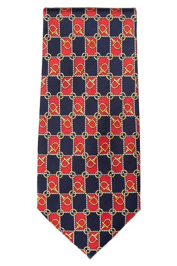 Paolo Gucci Paolo Gucci men's red & navy horsebit print silk tie NWT