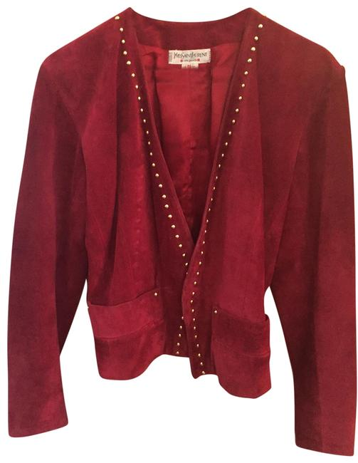 Saint Laurent Ysl Studded Suede Red Blazer