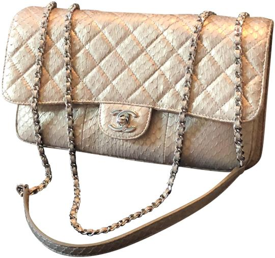 Preload https://item1.tradesy.com/images/chanel-classic-flap-iridescent-quilted-clam-pocket-champagne-python-shoulder-bag-23832415-0-1.jpg?width=440&height=440