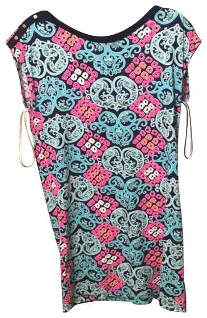Preload https://item1.tradesy.com/images/lilly-pulitzer-blue-and-pink-t-shirt-mid-length-short-casual-dress-size-10-m-23832430-0-1.jpg?width=400&height=650