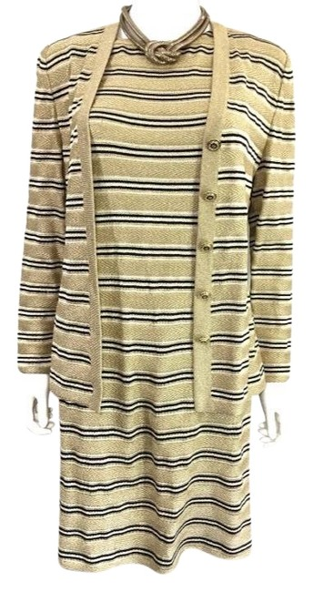 Preload https://img-static.tradesy.com/item/23832462/st-john-by-marie-gray-o-gold-striped-woven-sweater-and-knit-2-piece-suit-mid-length-workoffice-dress-0-1-650-650.jpg