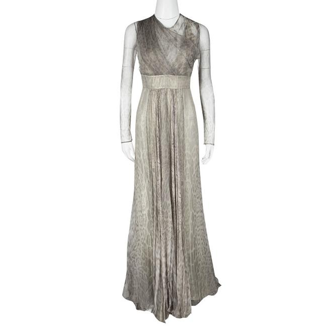 Preload https://img-static.tradesy.com/item/23832470/roberto-cavalli-grey-animal-printed-silk-and-tulle-draped-sleeve-gown-m-long-formal-dress-size-10-m-0-0-650-650.jpg