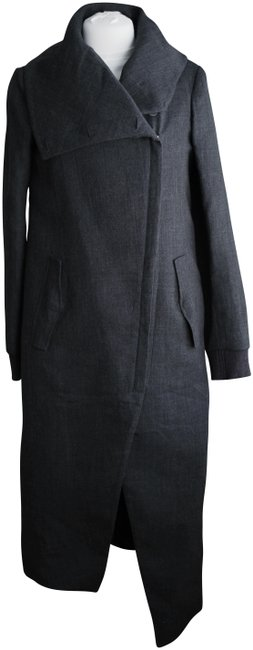 Preload https://item4.tradesy.com/images/helmut-lang-charcoal-asymmetric-wool-zip-trench-coat-size-6-s-23832478-0-1.jpg?width=400&height=650