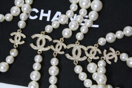 Chanel AUTH Chanel Pearl 6 Crystal CC Logo Opera Long Classic Necklace BOX