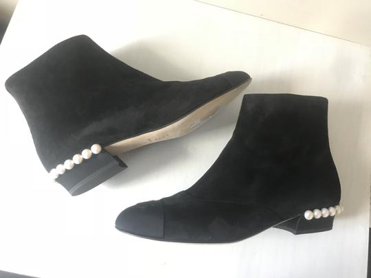 Chanel Pearl Suede Black Boots