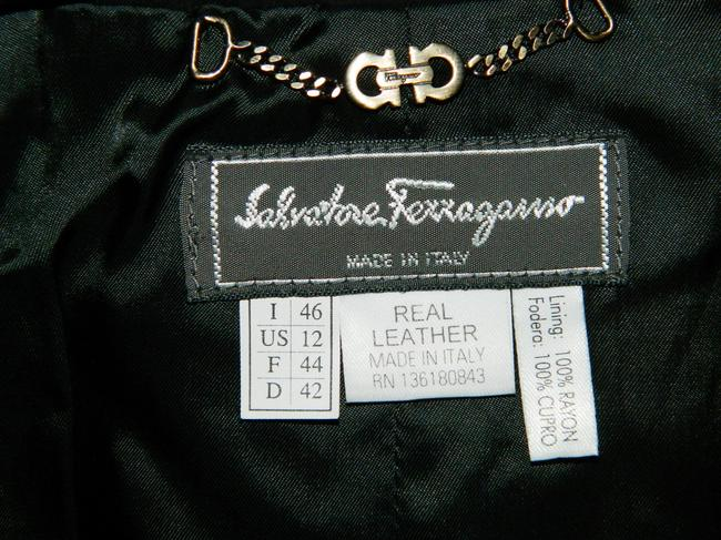 Salvatore Ferragamo Black and Brown Leather Jacket