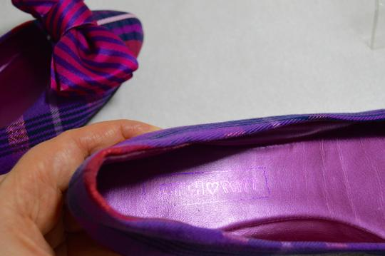 Coach Plaid Bow Ballerina Purple Flats