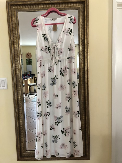 Off White w/lavender,pink and leaf colors Maxi Dress by Lucky