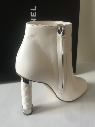 Chanel Heels Quilted Ankle Cream White Boots