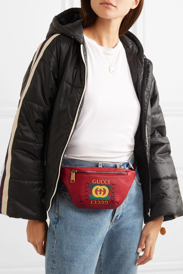7676ac34abc Gucci Printed Textured-leather Belt Red Leather Messenger Bag - Tradesy