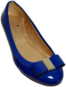 Kate Spade Made In Italy. Metallic Leather Ballerina Patent Leather Royal Blue Flats