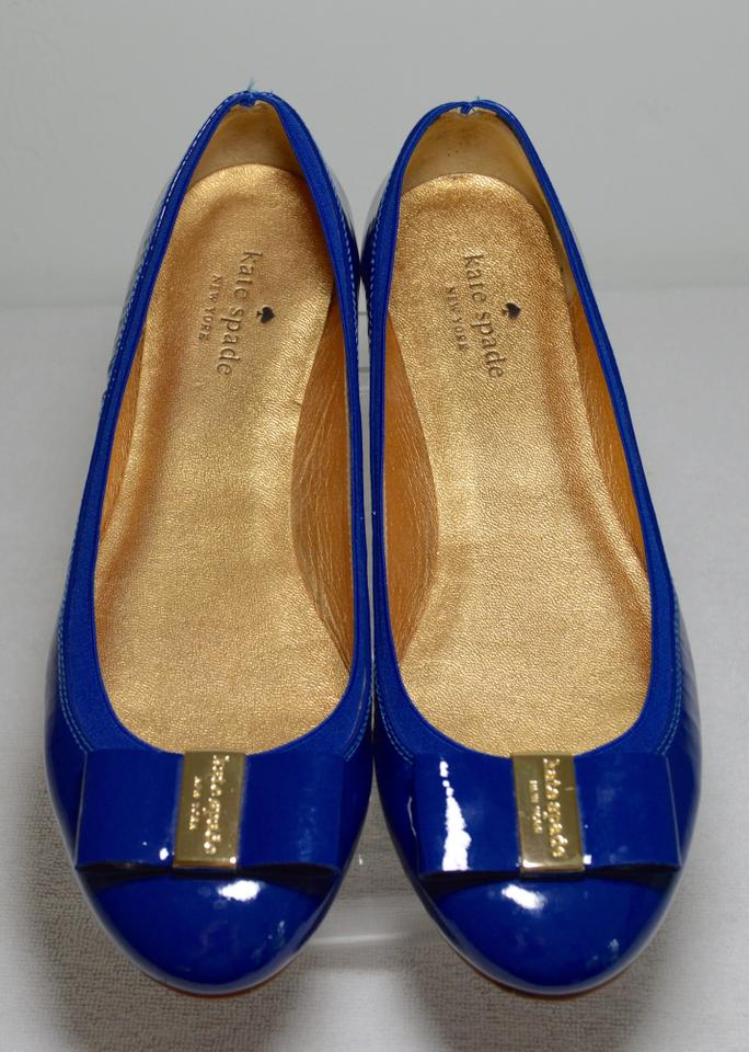fa1798794bc4 Kate Spade Made In Italy. Metallic Leather Ballerina Patent Leather Royal  Blue Flats Image 8. 123456789