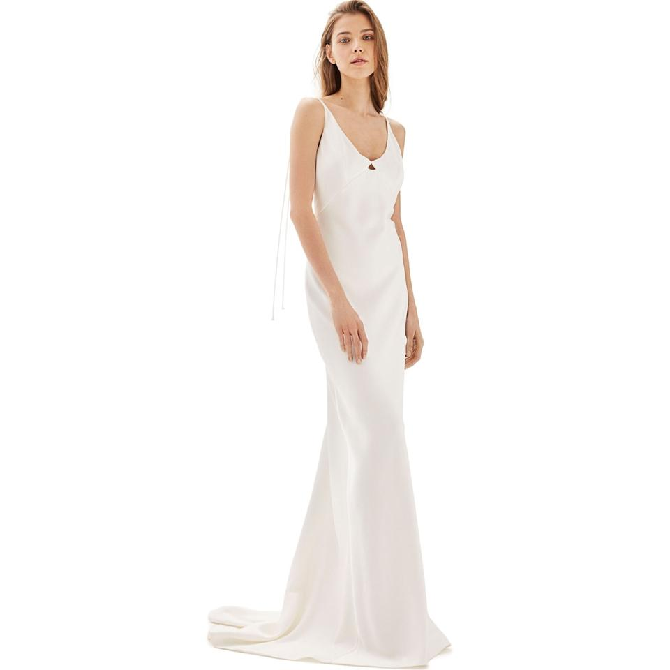Topshop Bride V-neck Satin Sheath Gown Feminine Wedding Dress Size ...