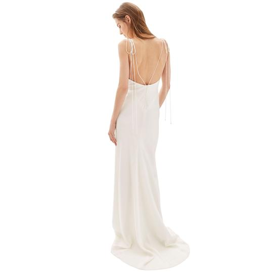 Topshop Bride V-neck Satin Sheath Gown Feminine Wedding Dress Size 12 (L)