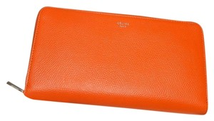 Céline Celine Large Zipped Multifunction Wallet in Grained Calfskin