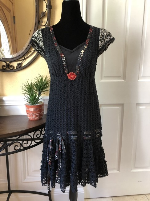 Free People short dress Black Chochet Sleeve on Tradesy