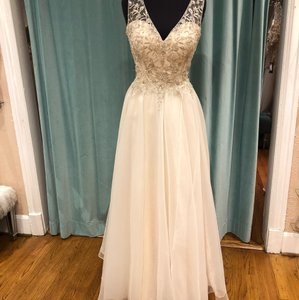 Moonlight Bridal Champagne/Silver Organza and Beadwork J6365 Modern Wedding Dress Size 8 (M)