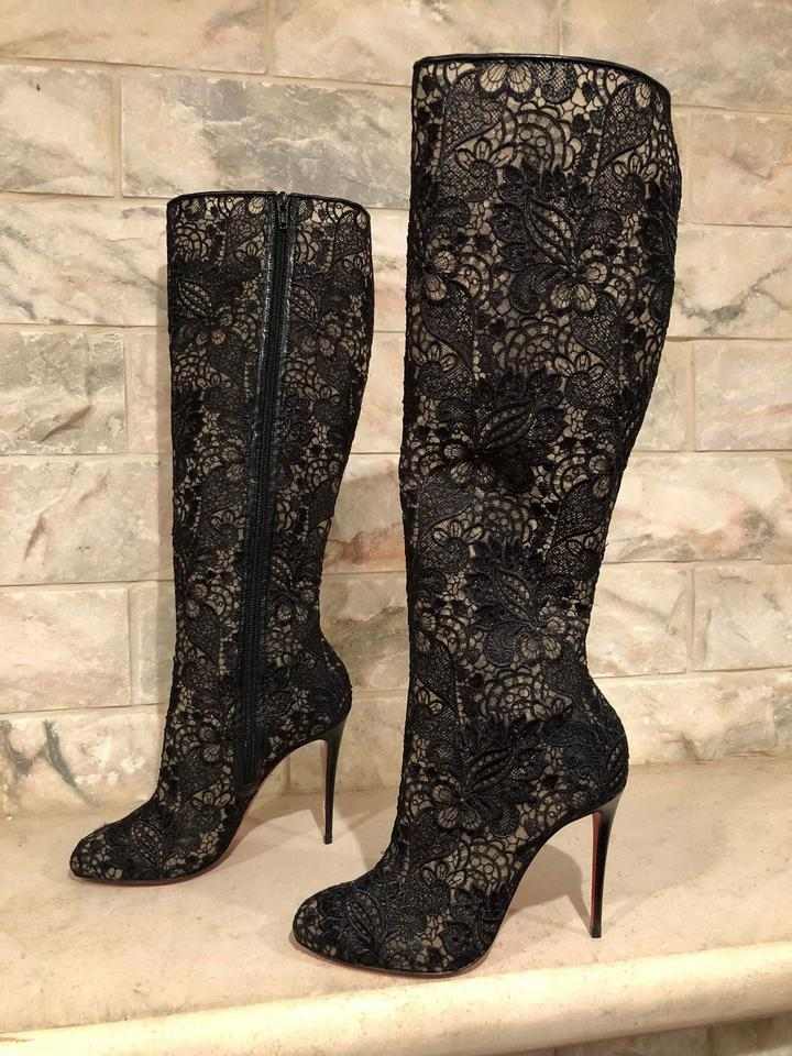 Boots Lace 100 Knee Louboutin Nude Leather Black High Booties Kid Heel Mesh Tennissina Christian IZ7fHxt