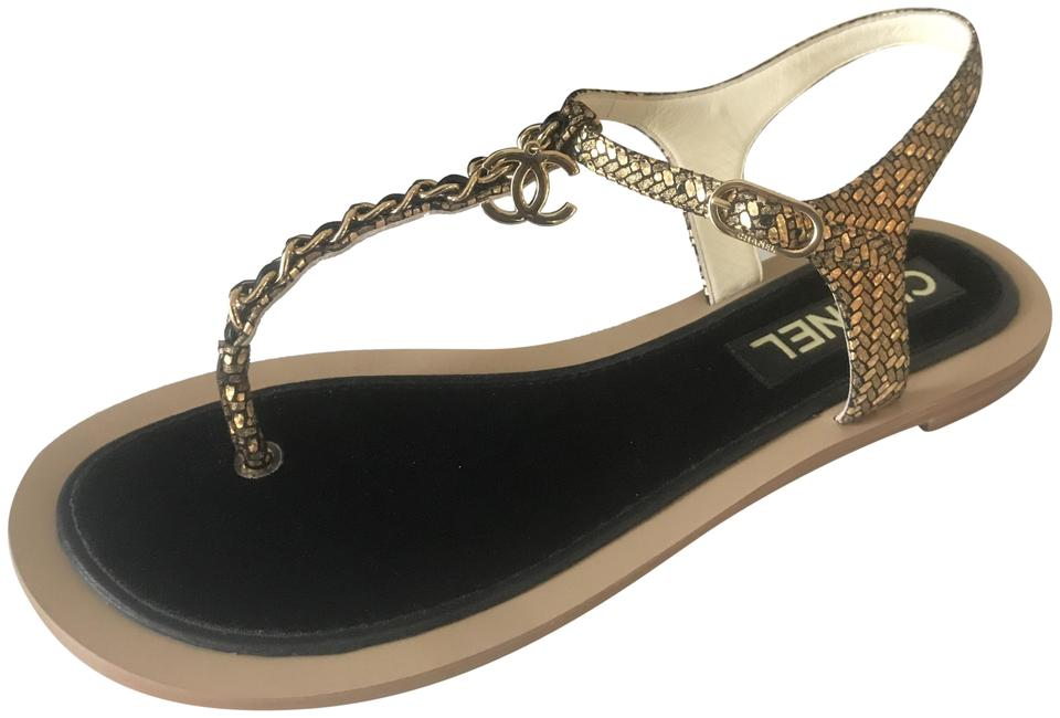 86357f54d Chanel Gold Black 18c Fantasy Chain Charm Thong Ankle T Strap Flat ...