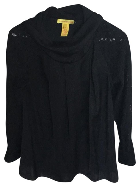 Preload https://item4.tradesy.com/images/catherine-malandrino-black-lace-sleeved-cowl-neck-blouse-size-0-xs-23832918-0-1.jpg?width=400&height=650