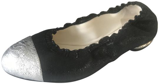 Chanel Ballerina Cap Toe Stretch Metallic Black/Silver Flats