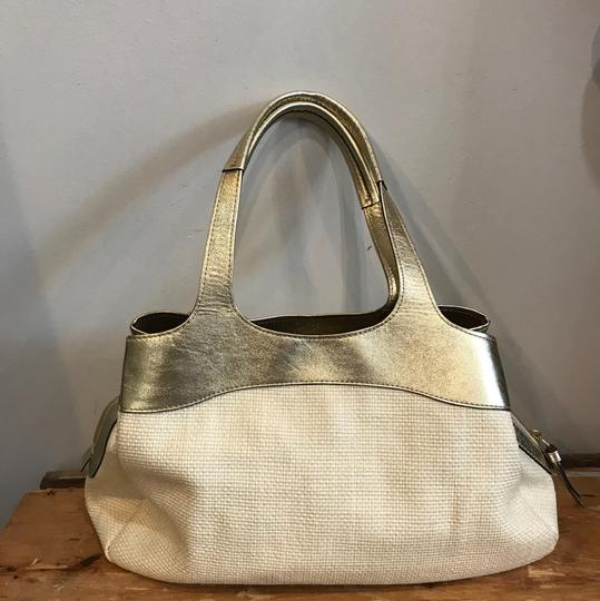 Coach Tote in Cream and Gold