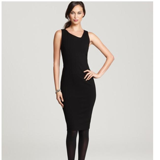 Preload https://img-static.tradesy.com/item/23832952/eileen-fisher-black-viscose-stretch-ponte-asymmetric-neck-short-cocktail-dress-size-6-s-0-0-650-650.jpg