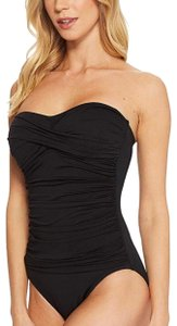 La Blanca Island goddess bandeau one piece black Sz 10