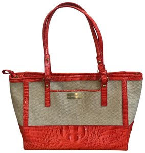 Brahmin Tote in Coral and Cream