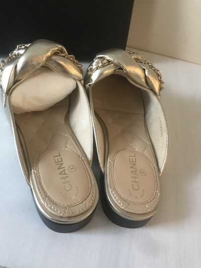 Chanel Flats Chain Braided Gold Mules