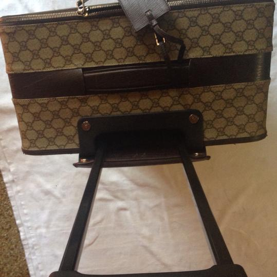 Gucci Monogram Leather Gucci Canvas Brown Travel Bag