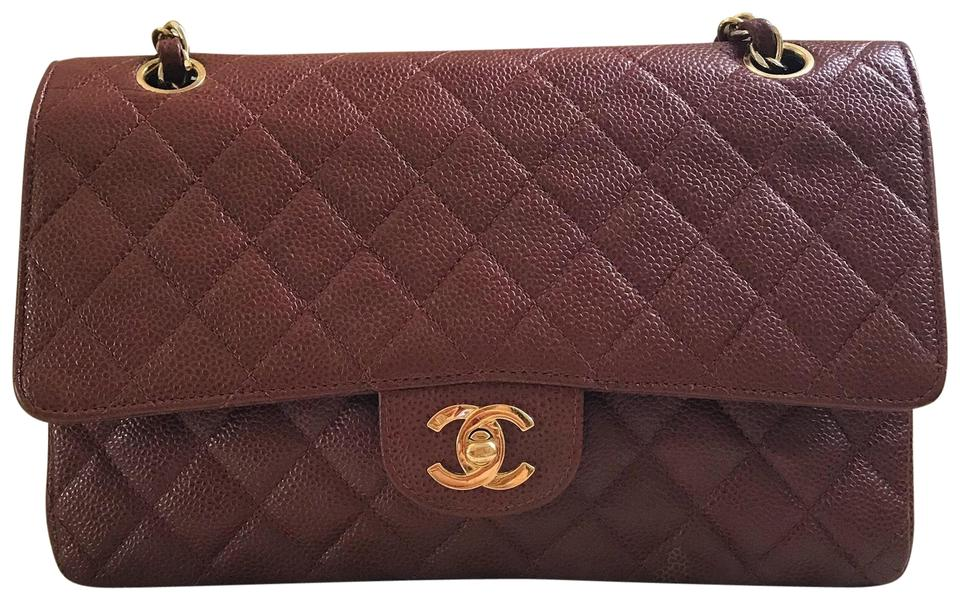 445fb616c026 Chanel Medium Large Brown Quilted Caviar Classic Double Flap Shoulder Bag