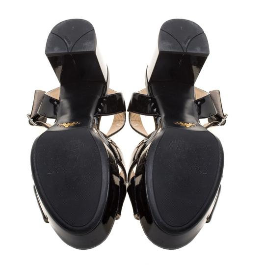 Prada Crisscross Strap Leather Black Sandals