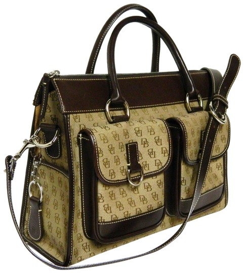 Preload https://img-static.tradesy.com/item/23833100/dooney-and-bourke-monogram-double-pocket-pochette-brown-canvas-with-leather-satchel-0-1-540-540.jpg