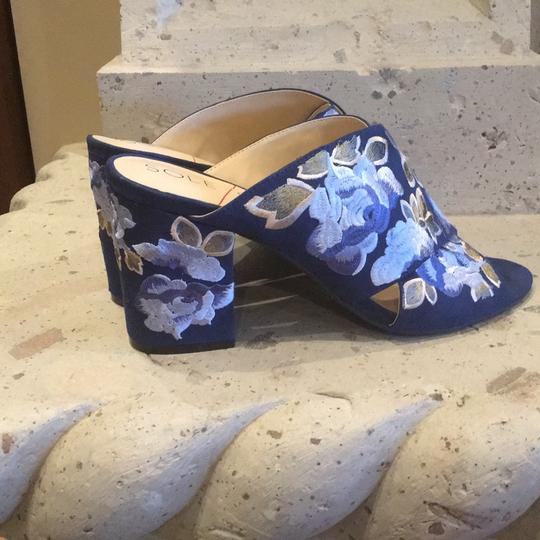 Sole Society Blue/Floral Mules