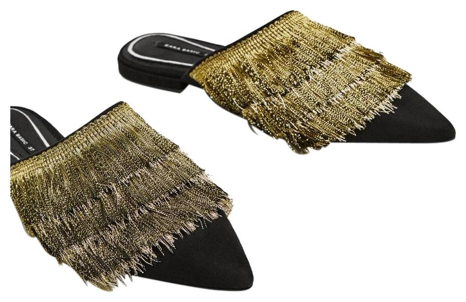 Zara Multicolor Mules with with Mules Fringe Flats e00071