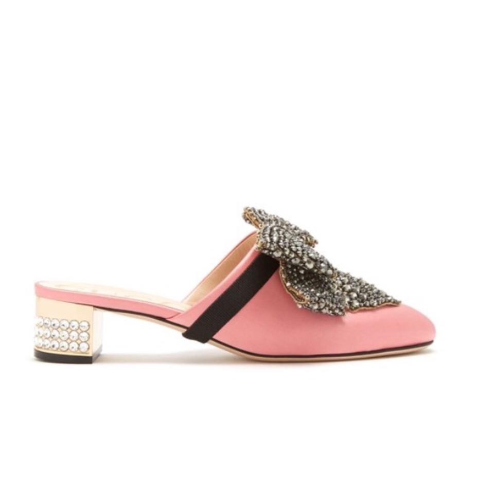 ceab6d85871 Gucci Crystal Bow Satin Mules Slides Size EU 36.5 (Approx. US 6.5 ...