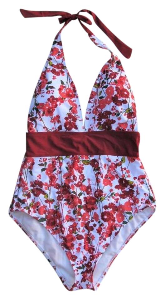 1f598a36f2a Adore Me Red & White Heidie Floral Print Swimsuit One-piece Bathing Suit