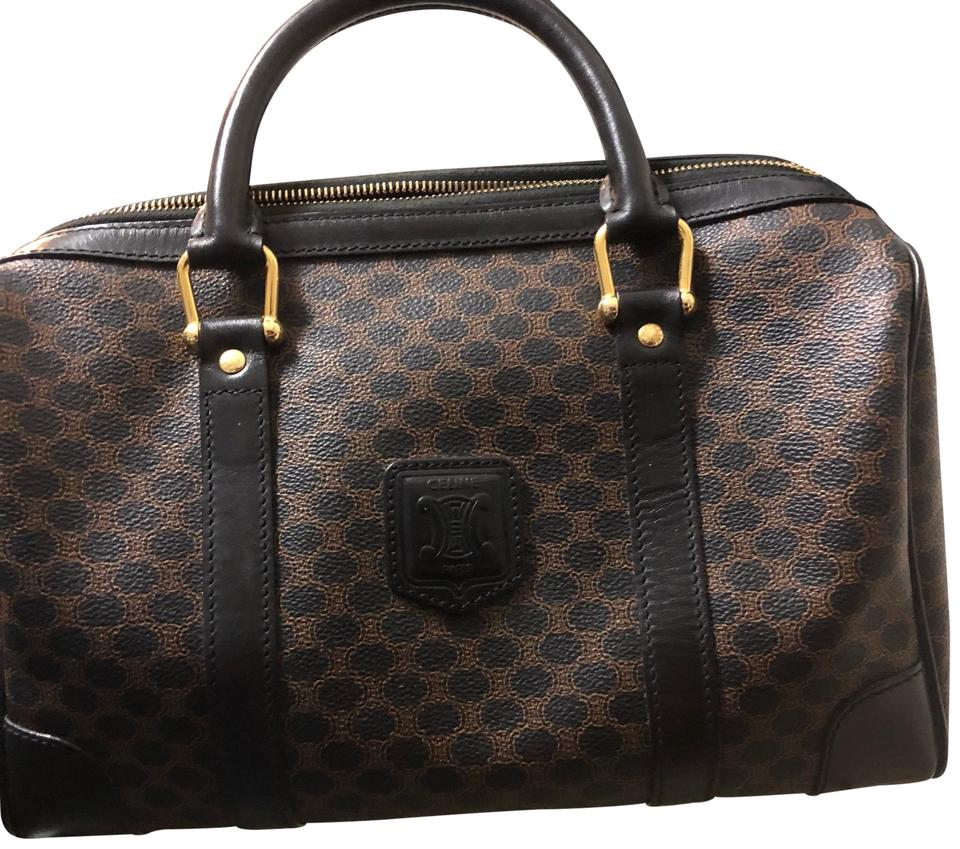 Canvas Satchel Brown Macadam Black Céline Boston xzISqpwA