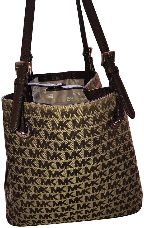 258699206733 Michael Kors Mk Monogram Worn 2 Ways Brown Beige Canvas Tote - Tradesy