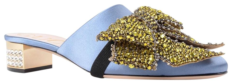 1ab88b530 Gucci Crystal Bow Satin Mules/Slides Size EU 38 (Approx. US 8 ...