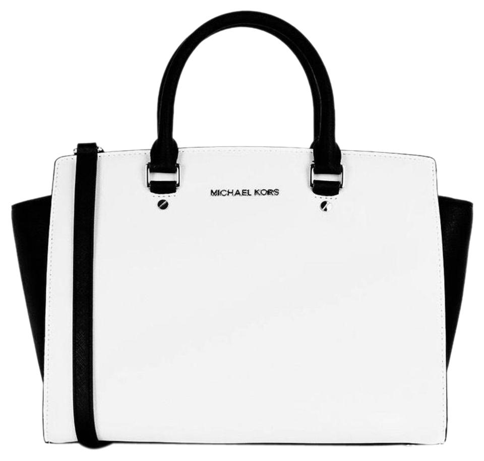 Michael Kors Large Selma New With Tags Optic White Black Silver Hardware Saffiano Leather Satchel 34 Off Retail