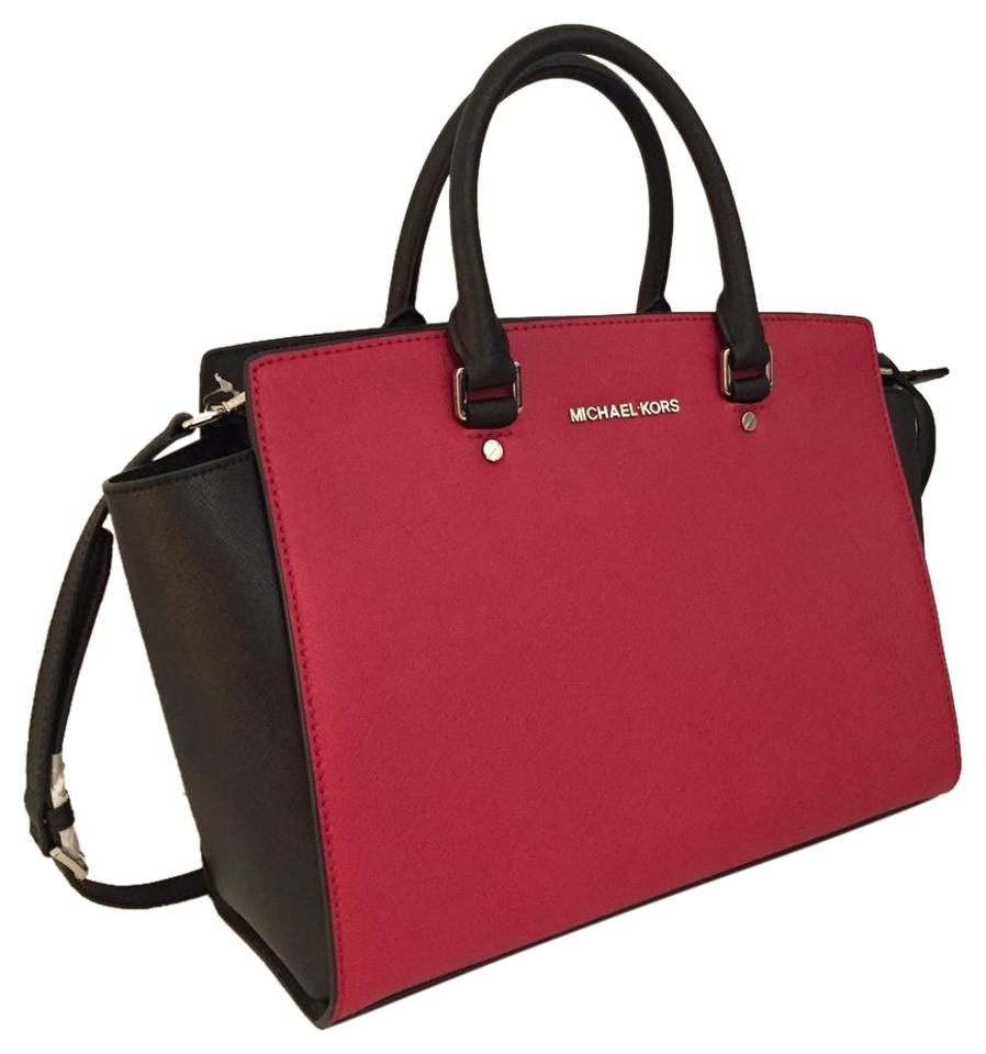 9316f56b2bf4 Michael Kors Large Selma Top Zip (New with Tags) Red Black  Colorblock Silver Hardware Saffiano Leather Satchel