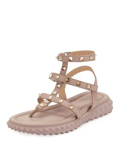 Valentino Studded Rockstud Strappy Gladiator T Strap Nude Sandals
