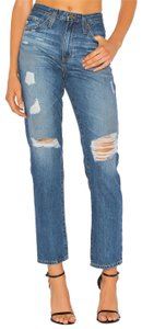 AG Adriano Goldschmied Distressed High Waist Vintage Boyfriend Cut Jeans-Distressed